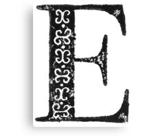 Serif Stamp Type - Letter E Canvas Print