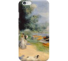 Auguste Renoir - View of Bougival 1873 Woman Portrait iPhone Case/Skin