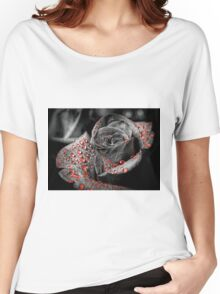 Red drops on Rose Petals Women's Relaxed Fit T-Shirt