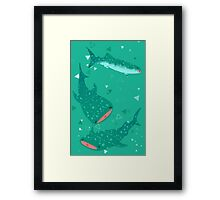 Teal Whale Shark Framed Print