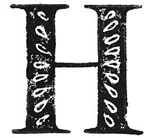 Serif Stamp Type - Letter H Photographic Print