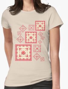 Salmon Pink Rose Womens Fitted T-Shirt