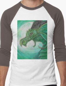 Green illustrated Oil pastel fantasy dragon  Men's Baseball ¾ T-Shirt