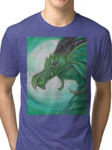 Green illustrated Oil pastel fantasy dragon  Tri-blend T-Shirt