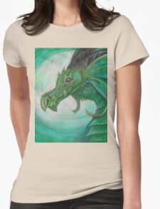 Green illustrated Oil pastel fantasy dragon  Womens Fitted T-Shirt
