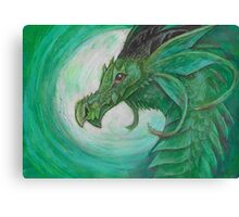 Green illustrated Oil pastel fantasy dragon  Canvas Print