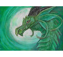Green illustrated Oil pastel fantasy dragon  Photographic Print