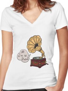 Retro Gramophone Women's Fitted V-Neck T-Shirt