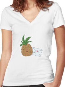 Even Pineapples Love Post.  Women's Fitted V-Neck T-Shirt