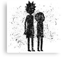 Grunge Rick and Morty Silhouette Canvas Print