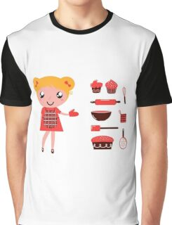 Retro baking girl - Vector cartoon Illustration Graphic T-Shirt