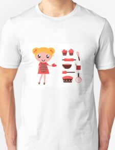 Retro baking girl - Vector cartoon Illustration Unisex T-Shirt