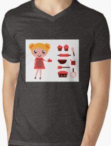 Retro baking girl - Vector cartoon Illustration Mens V-Neck T-Shirt