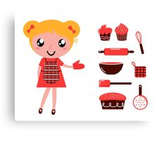 Retro baking girl - Vector cartoon Illustration Canvas Print