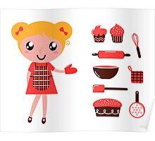 Retro baking girl - Vector cartoon Illustration Poster