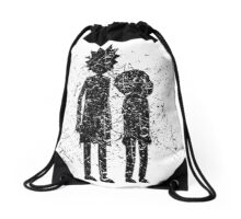 Grunge Rick and Morty Silhouette Drawstring Bag