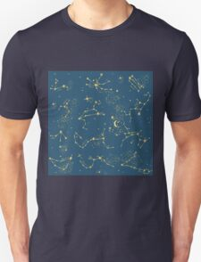 Zodiac Constellations in Neptune Blue Unisex T-Shirt