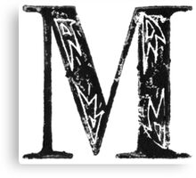 Serif Stamp Type - Letter M Canvas Print