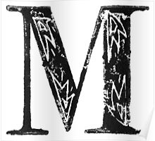 Serif Stamp Type - Letter M Poster