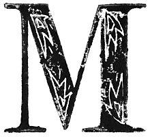 Serif Stamp Type - Letter M Photographic Print