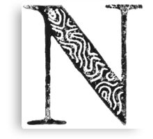 Serif Stamp Type - Letter N Canvas Print