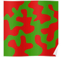 Red and Green Abstract Poster