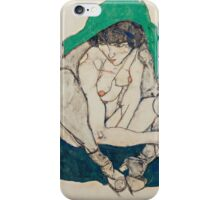Egon Schiele - Crouching Woman with Green Headscarf 1914  Fashion Sexy  Woman iPhone Case/Skin