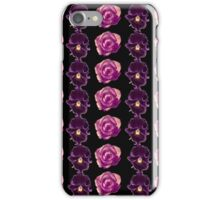 Purple and yellow pansies and pink roses black background iPhone Case/Skin