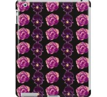 Purple and yellow pansies and pink roses black background iPad Case/Skin