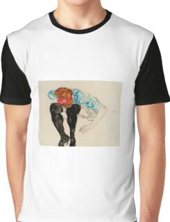 Egon Schiele - Blond Girl, Leaning forward with Black Stockings 1912 Graphic T-Shirt