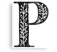 Serif Stamp Type - Letter P Canvas Print