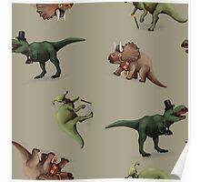 Fancy Dinosaurs - Brown Poster