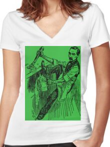 Barkeep on the Job (Green Background) Women's Fitted V-Neck T-Shirt