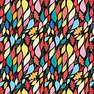 Seamless colorful pattern with large leaves  by Tanor
