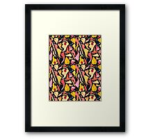 Seamless pattern with beautiful leaves and mushrooms  Framed Print