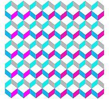 Bold Bright Trendy Optical Illusion Color Blocks Geometric Print Photographic Print