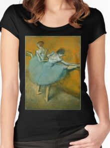 Edgar Degas - Dancers at the Barre ( 1900) Impressionism  ballerina dancers Women's Fitted Scoop T-Shirt