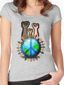 Unity And Peace - Raised Fists! Women's Fitted Scoop T-Shirt