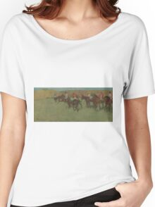 Edgar Degas - At the Races Before the Start (1875 - 1885)  Impressionism Women's Relaxed Fit T-Shirt