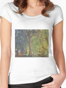 Claude Monet - Weeping Willow , Impressionism) Women's Fitted Scoop T-Shirt