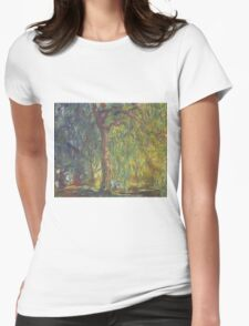 Claude Monet - Weeping Willow , Impressionism) Womens Fitted T-Shirt