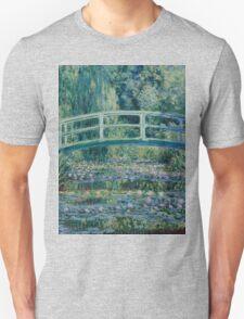 Claude Monet - Water Lilies and Japanese Bridge (1899)  Impressionism Unisex T-Shirt
