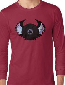 Vinyl Records with Wings - Retro Grunge Vintage Art - Music DJ! Long Sleeve T-Shirt
