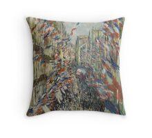 Claude Monet - The Rue Montorgueil in Paris. Impressionism Throw Pillow