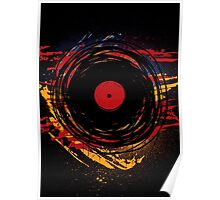 Vinyl Record Retro Grunge with Paint and Scratches - Music DJ! Poster