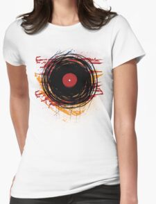 Vinyl Record Retro Grunge with Paint and Scratches - Music DJ! Womens Fitted T-Shirt