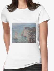 Claude Monet - The Rock Needle and the Porte d'Aval Impressionism Womens Fitted T-Shirt