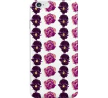 Purple and yellow pansies and pink roses white background iPhone Case/Skin