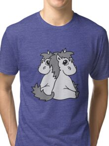 siblings twins brothers sisters couple couple in love love team foal sweet cute sitting pony pferdchen kawaii child Tri-blend T-Shirt