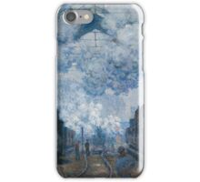 Claude Monet - The Gare Saint-Lazare Arrival of a Train , Impressionism iPhone Case/Skin